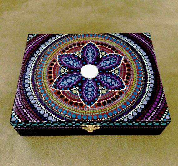 wooden box hand painted keepsake by DotsMania on Etsy