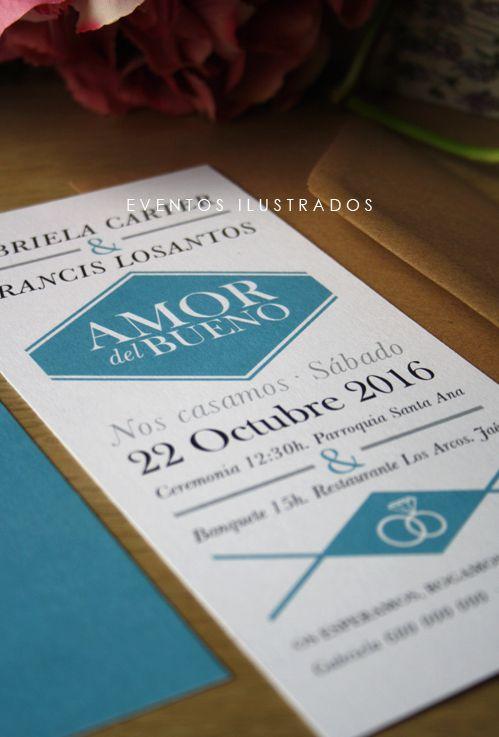 Si buscas una invitación elegante y mixta, ésta es la tuya: Moderna, limpia y muy original!