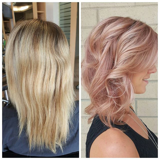 WEBSTA @ zoiedoeshair - Before and after of the rose gold accomplishment PLUS formulations... we worked on grown out previous hilights and lowlights as a healthy and fun option for change and nourishment. NG:40g0N 3g lt RV fsd   3g V p.pigment  3g dk BV fspp  40ml5volENDS:25g0N   15gELC  0.5g lt RV fsd  1g pastel V   1g p.pigment V   40ml CTA creme (Sorry formulas are so late I was on vacay ) #nofilter #aveda #avedacolor #avedapro #beforeandafter #fashion #fashioncolor #trendy #onpoint…