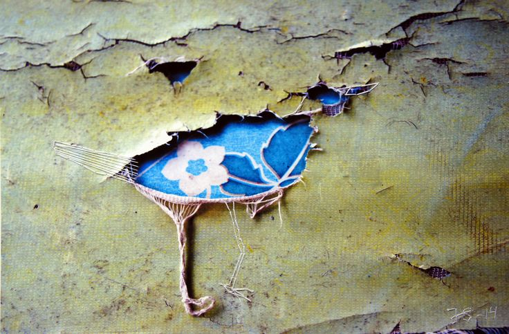"""julie Skarland """" Bluethroat """", 2014 embroidery on photography."""