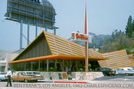 Exterior of Ben Franks restaurant, Sunset Strip CA in 1962