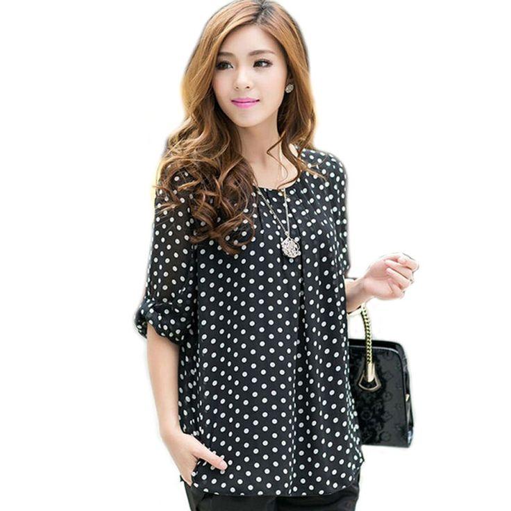 women chiffon blouse women shirts polka dot blouse 3XL 5XL 4XL blusas big size blusas plus size clothing xxxl xxxxl xxxxxl WD015