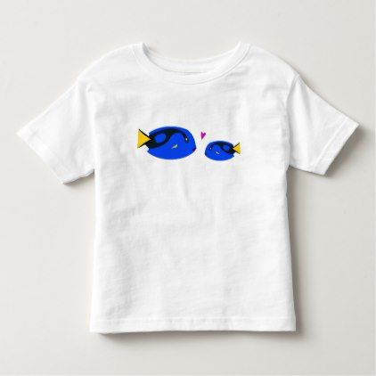 #fishing - #Mom & Baby Blue Tang Fish Kissing with Pink Heart Toddler T-shirt