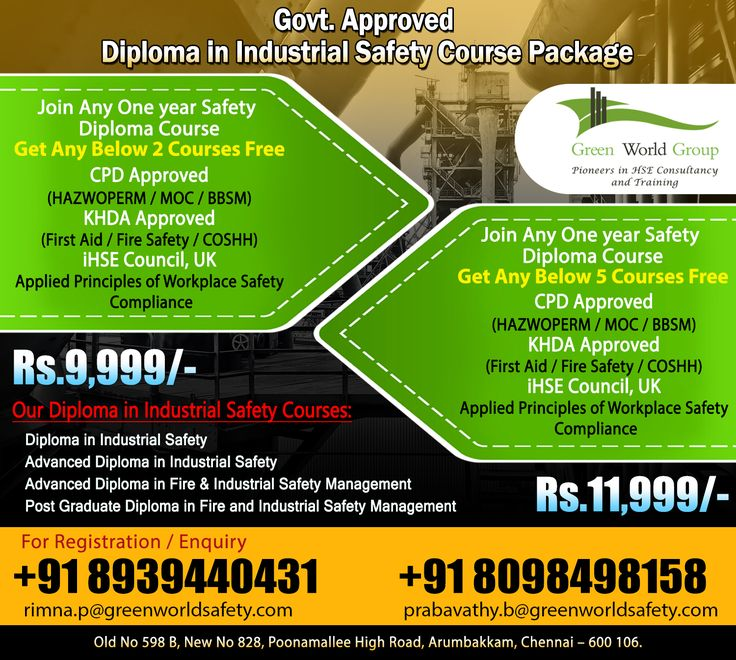 Advanced Diploma in Industrial Safety Safety courses