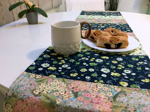 Floral Quilted Table Runner Quilted Patchwork by QuiltingByKatya
