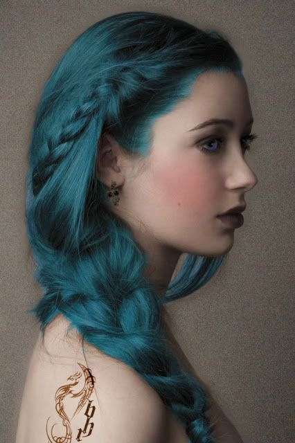 Turquoise - love this!: Braids Hairstyles, Mermaids Hair, Hair Colors, Long Hair, Blue Hair, Girls Hairstyles, Hair Style, Wedding Hairstyles, Side Braids