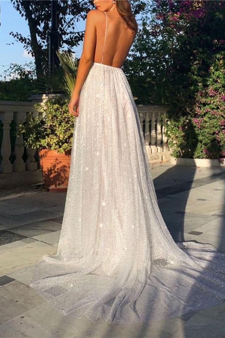 Sexy Shoulder Straps Backless Mop The Floor Sequin Dress