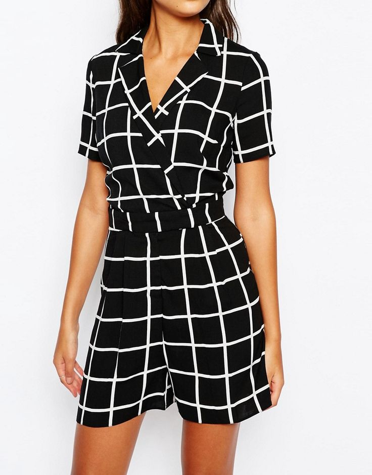 Image 3 of ASOS TALL Playsuit in Grid Print
