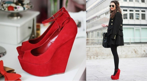 : Red Shoes Wedges, Red Wedges, Red Shoes Must Have, Red Heels, Outfit, Shoes Red Shoes, Shoe Wedges, Shoes Shoes