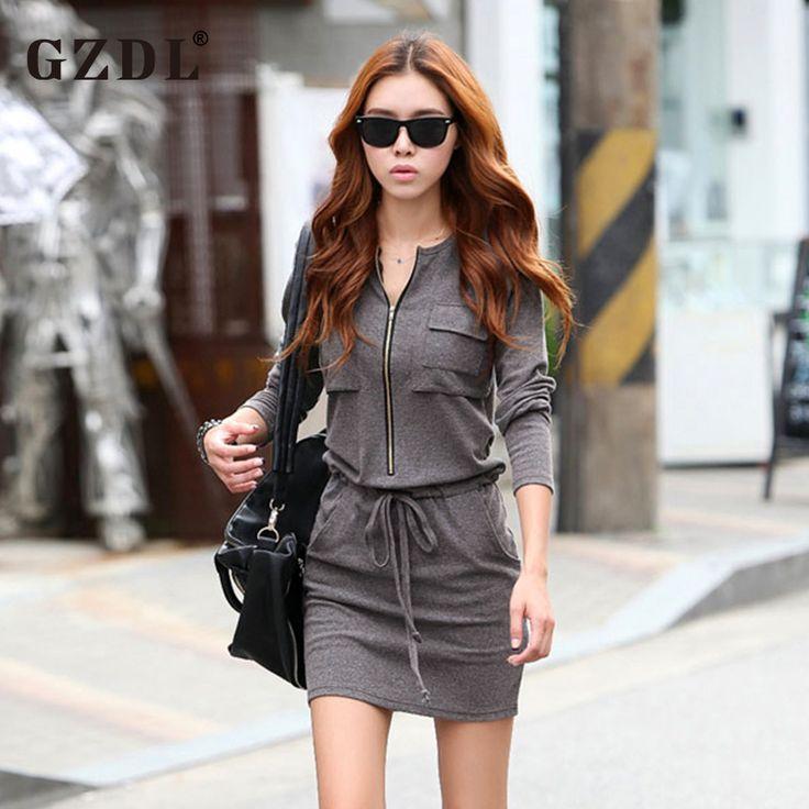 2017 Spring Autumn Ladies Zipper Tunic Elastic Waist Long Sleeve Casual Dress //Price: $21.53 & FREE Shipping //     #hashtag2