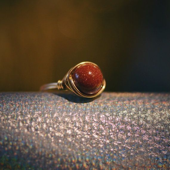 Shimmering Amber Wire Wrapped Ring Daylight Stars Ring by Wikklow