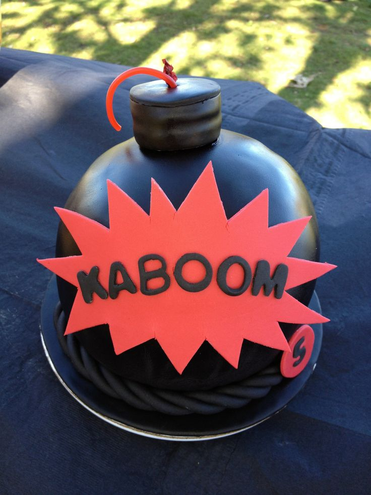 Bomb Cake: This bomb cake was made for my friend's son's 5th birthday party.  It was a Spy Training Academy themed party.