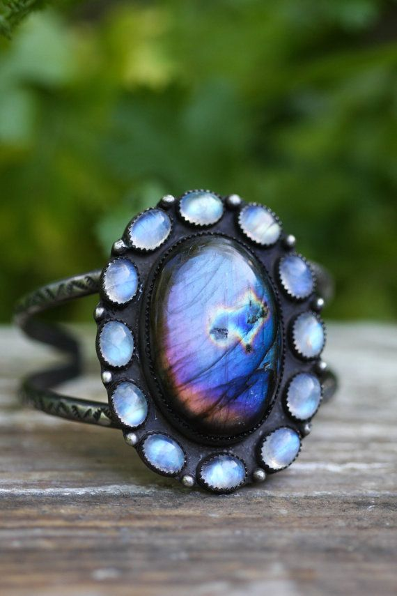 Large Labradorite and Moonstone Cuff. Purple by AppaloosaDesigns