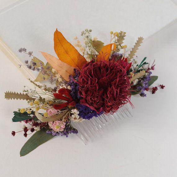 Flower Wedding Hair Piece Rustic Headpiece Dried by VelvetTeacup, $52.00