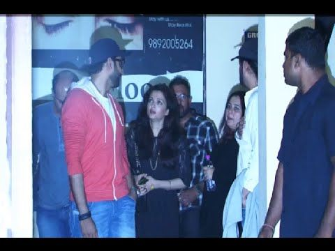 Abhishek Bachchan and Aishwarya Rai spotted late night at Juhu PVR in Mumbai.