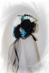 Brautstrauß schwarz türkis