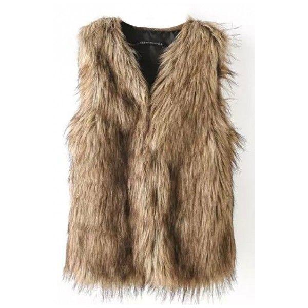 Faux Fur Fabric V-Neck Hidden Buttons Vest ($23) ❤ liked on Polyvore featuring outerwear, vests, brown vest, v neck vest, fake fur vest, vest waistcoat and brown waistcoat