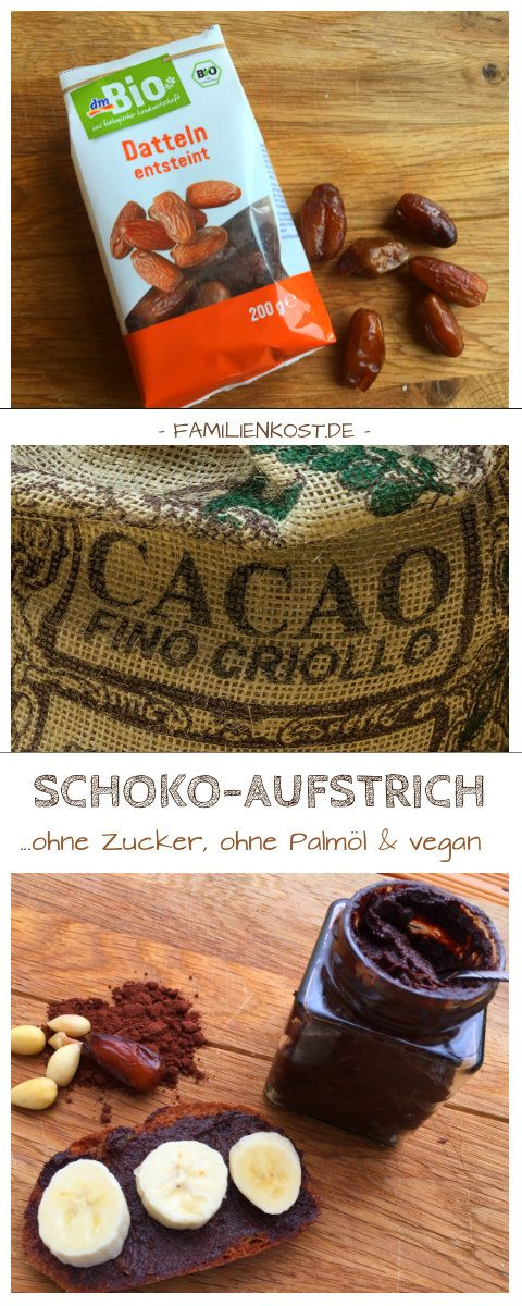Schokoaufstrich selber machen ist gar nicht schwer und funktioniert mit Datteln und Mandeln wunderbar. Der Vorteil: dieser Schokoaufstrich ist ohne Zucker, ohne Palmöl und vegan - also fast gesund. Hier geht es zum Rezept, das sich besonders gut für den Thermomix eignet:  https://www.familienkost.de/rezept_dattel-schokoaufstrich_ohne_zucker.html