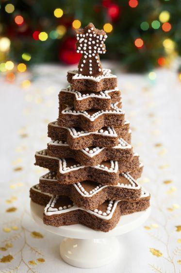 bizcocho chocolate con forma arbol de navidad