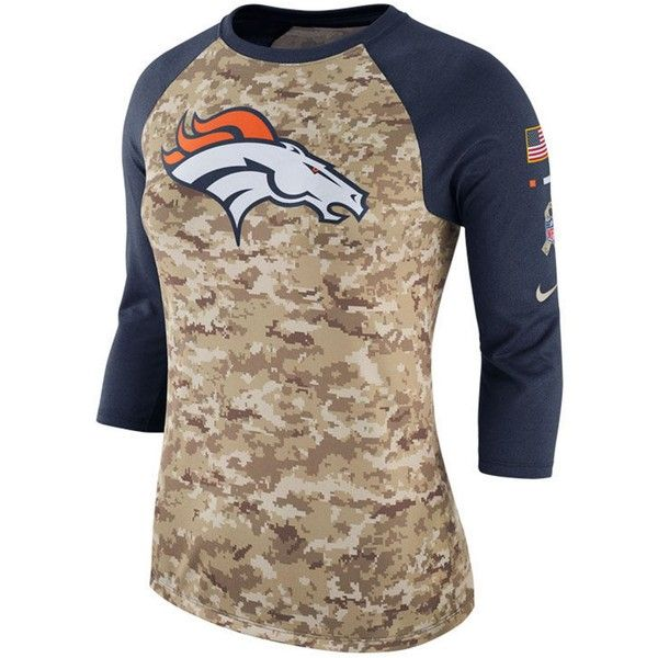 Nike Women's Denver Broncos Salute To Service Three-Quarter Raglan... ($23) ❤ liked on Polyvore featuring tops, t-shirts, olive, crew neck t shirt, three quarter sleeve t shirts, three quarter sleeve tops, nike tee and military green t shirt