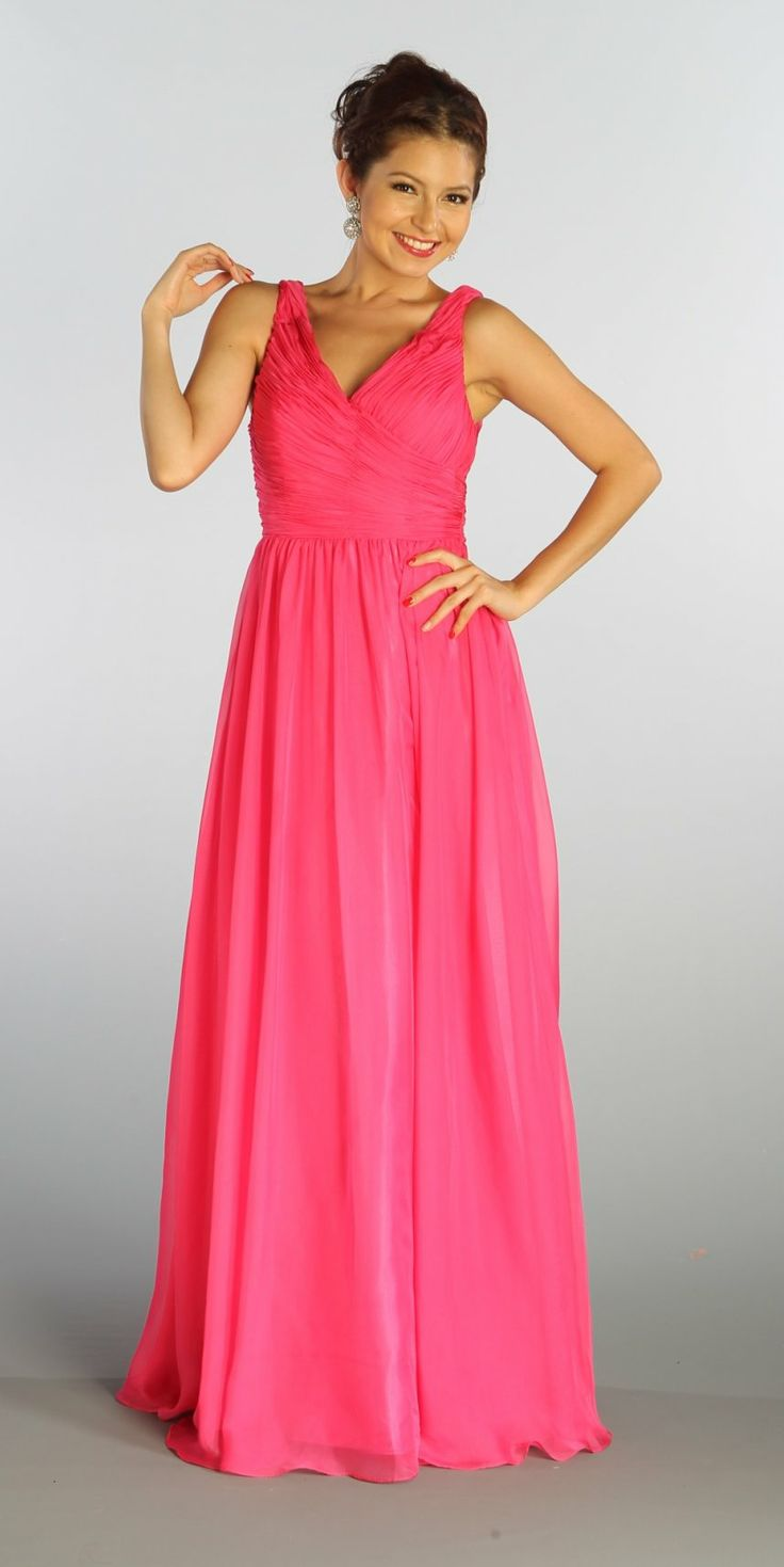 Sleeveless V Neck Fuchsia Bridesmaid Gown A Line Long Chiffon $129.99