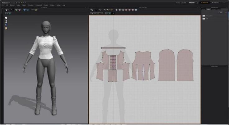 Modeling 3D clothes in Marvelous Designer By JH Park shirt pattern