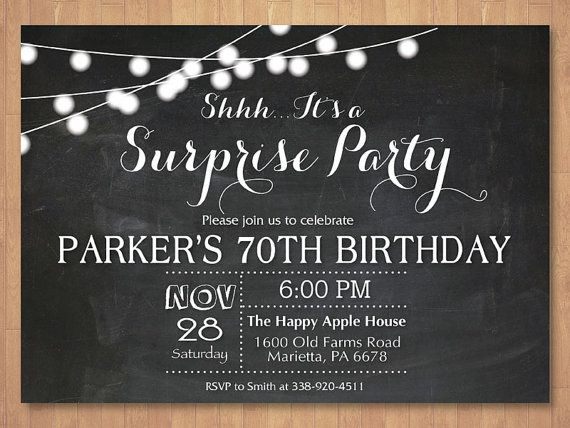 Surprise 70th Birthday Invitation. Chalkboard 30th 40th 50th 60th 80th Any Age. Black and White. Surprise Birthday. Printable Digital.