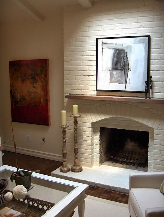 White brick fireplace with wooden mantle. - 25+ Best Ideas About Brick Fireplace Mantles On Pinterest Fire