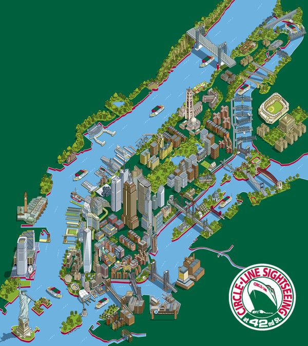 Circle Line 101 New York Sights Map by Rod Hunt