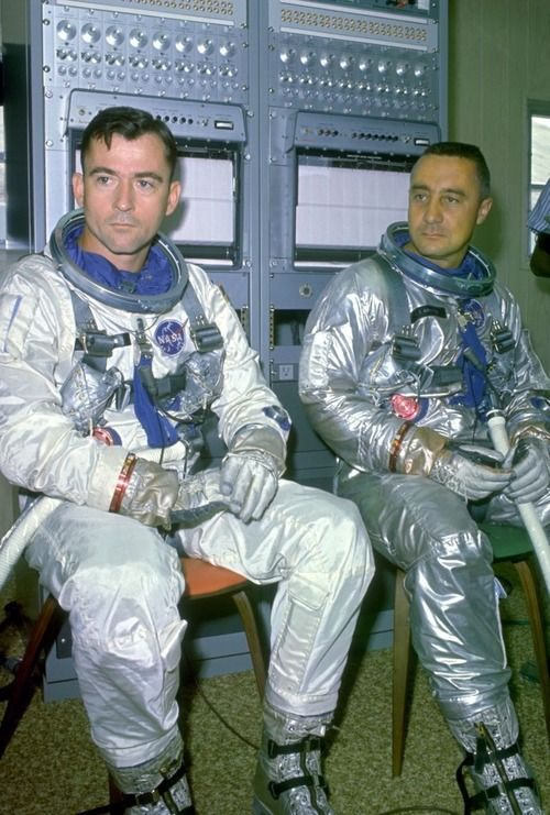 Astronauts John Young and Gus Grissom, crew of first manned  Gemini mission