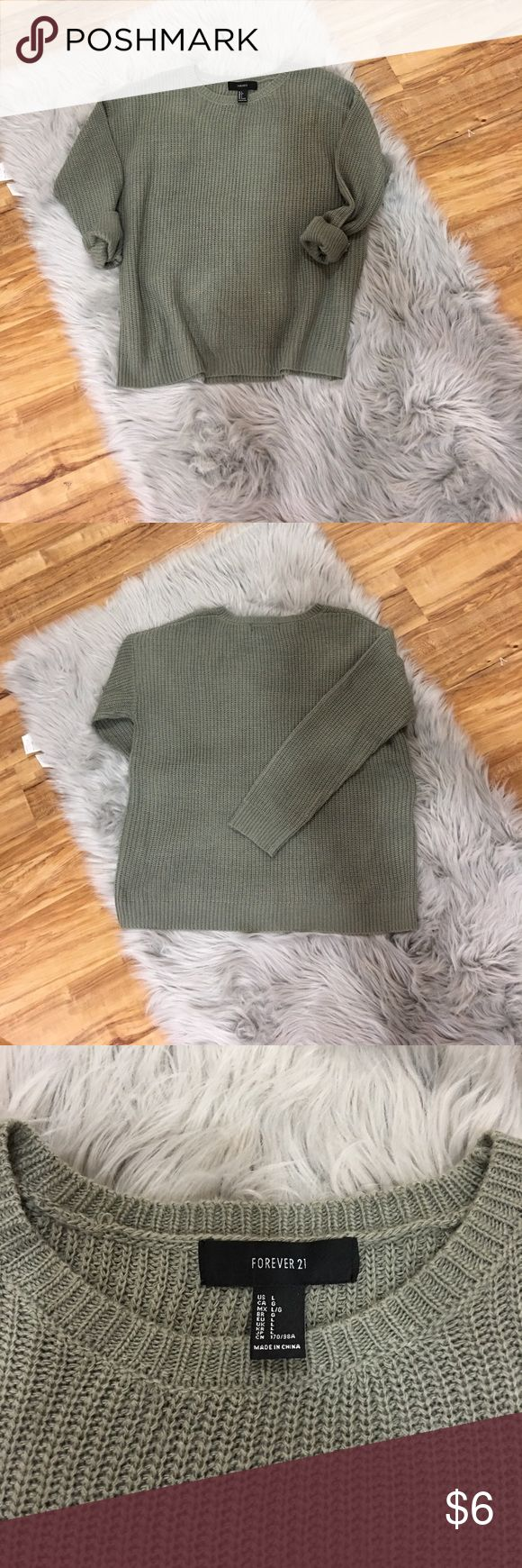 Forever 21 Sweater Sage green sweater. In great condition! Forever 21 Sweaters Crew & Scoop Necks