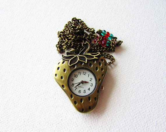 Strawberry Watch Necklace Strawberry Pendant Working Watch