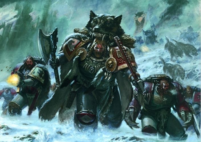 "Warhammer 40k, Space Wolves Legion - ""Veterans of the Wolf Guard charge into the fray."""