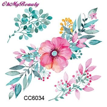 3D Цветок Татуировки Наклейки Body Art Наклейки Розовый Цветок Водонепроницаемый Бумаги Временные Татуировки