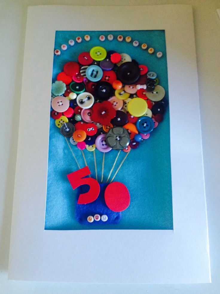 50th card, crafts with buttons
