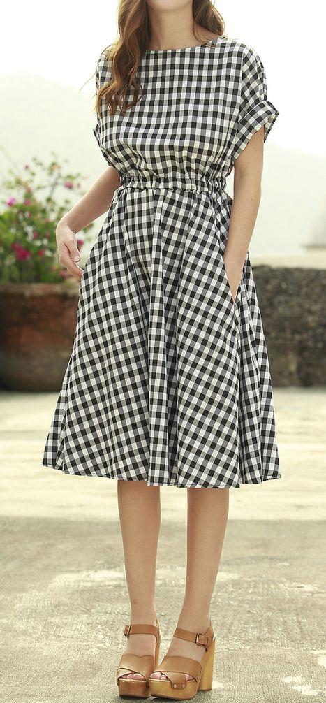 Gingham swing dress
