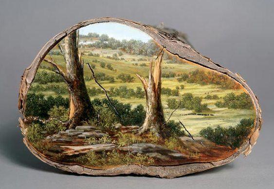 Pintura em tronco de árvore http://alisonmoritsugu.com/work/