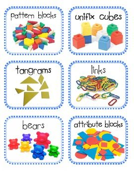 Here are some math manipulative labels for your Math Tubs. They are an excellent visual (especially for the lower grades) so the students can be independent in getting to the materials they need!  This is a 3 page pdf. For more information on how to customize your own labels using Microsoft Word, please visit my blog here:  http://kindertastic.blogspot.com/2011/06/math-manipulatives-labels.html