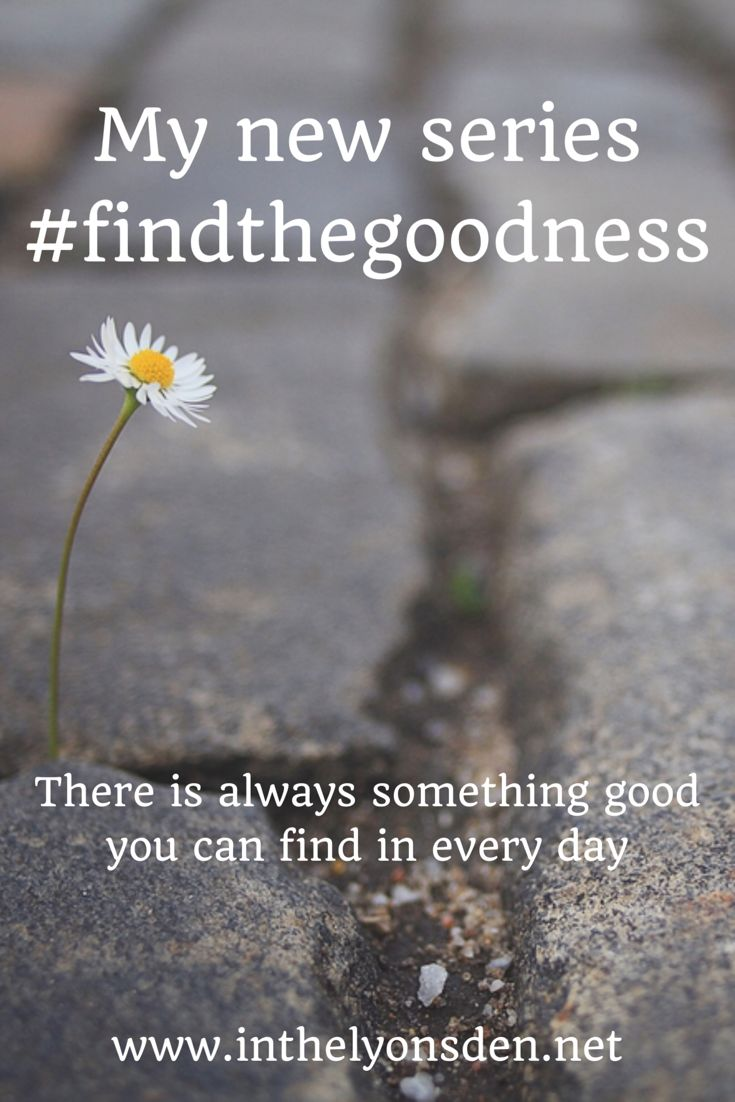 We can always find something good in our day, sometimes it's big and sometimes it's small. Join my series #findthegoodness
