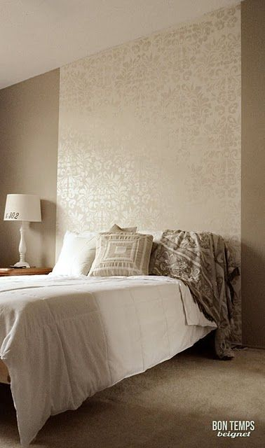 Metallic stencil as a wall accent.  Use in master bath above tub.  The metallic will catch the candle light.  Romantic!