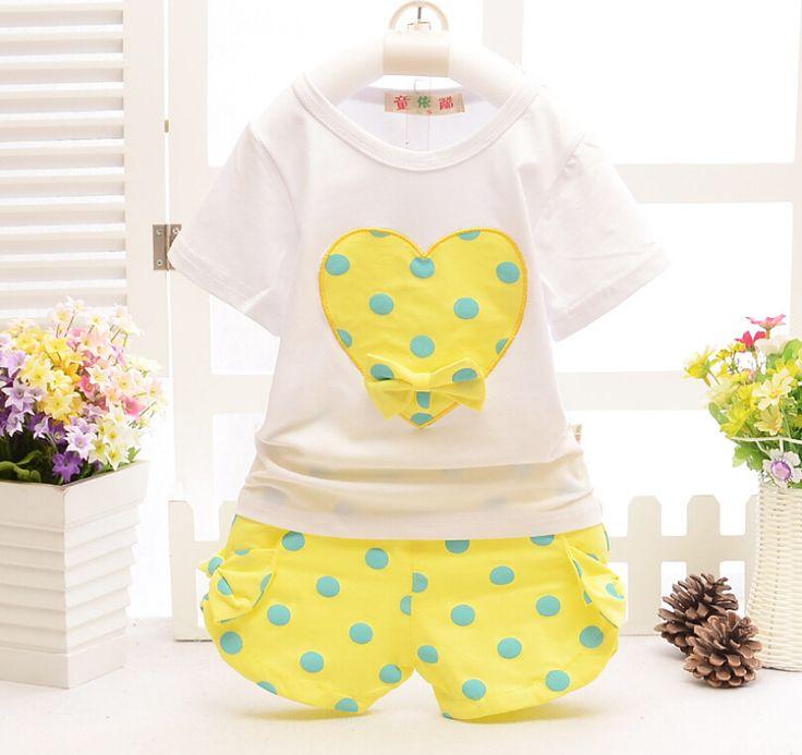 Лето дети одежда костюм T - рубашка + короткая брюки 2 штук костюм девочки большой в форме сердца - в форме одежда комплект 100% хлопок для 1 ~ 7Y