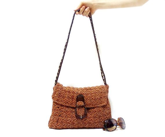 Handmade bag, Handmade Satchel, Book bag, Brown, Crochet tote bag, Fr ...