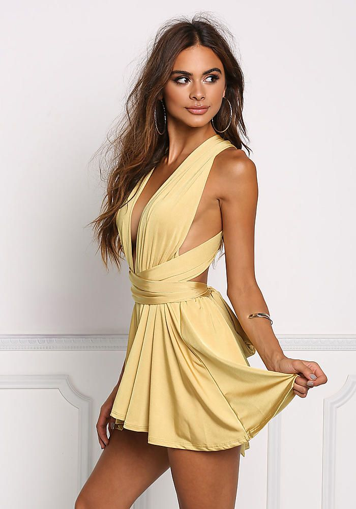 c4da61c2a055 Mustard Multi Wrap Romper - New | Sophia Miacova | Dresses, Fashion ...