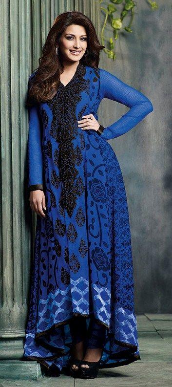 402301, Party Wear Salwar Kameez, Bollywood Salwar Kameez, Georgette, Chiffon, Machine Embroidery, Resham, Zari, Lace, Blue Color Family