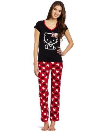 Cheap Hello Kitty Women's Hk Print Pajama Set, Black/Red, Medium Online Shopping - http://bestcomparemarket.com/cheap-hello-kitty-womens-hk-print-pajama-set-blackred-medium-online-shopping
