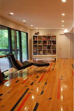 Reclaimed Maple Gym Floor - wouldn't this be cool if we ever decide to finish the basement!?