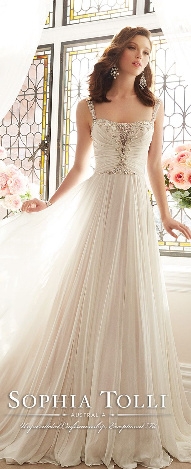sophia tolli angel chiffon A-line wedding gown with embroidered shoulder straps spring 2016 Y11644