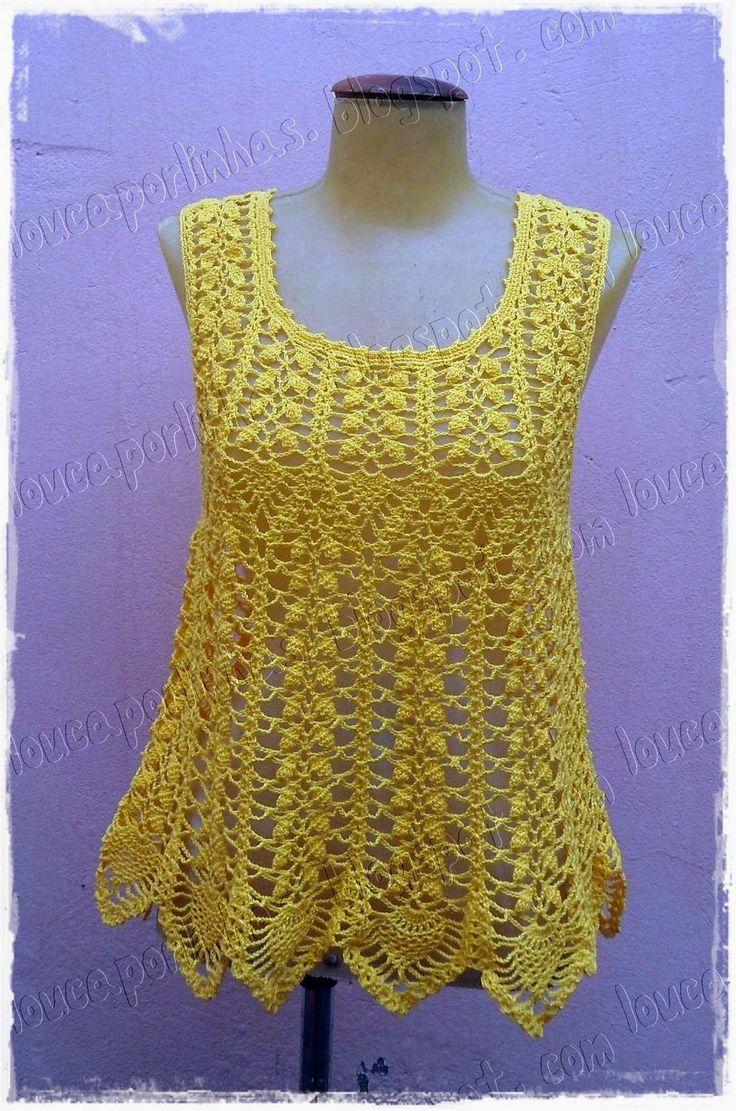 """louca por linhas - crochet e patchwork: Regata """"amarelo-manga"""" Simply Summer"""