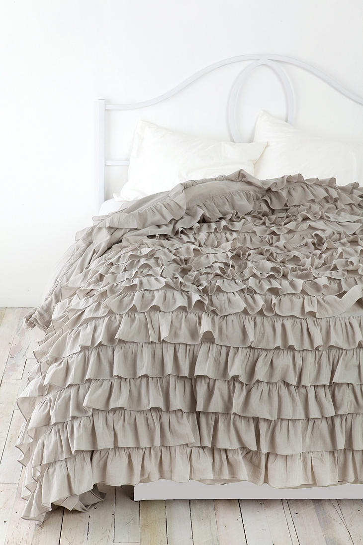 waterfall ruffle duvet cover urban outfitters grey and. Black Bedroom Furniture Sets. Home Design Ideas