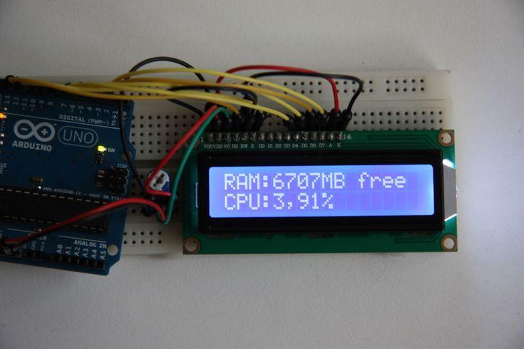 Arduino cpu ram usage monitor lcd and